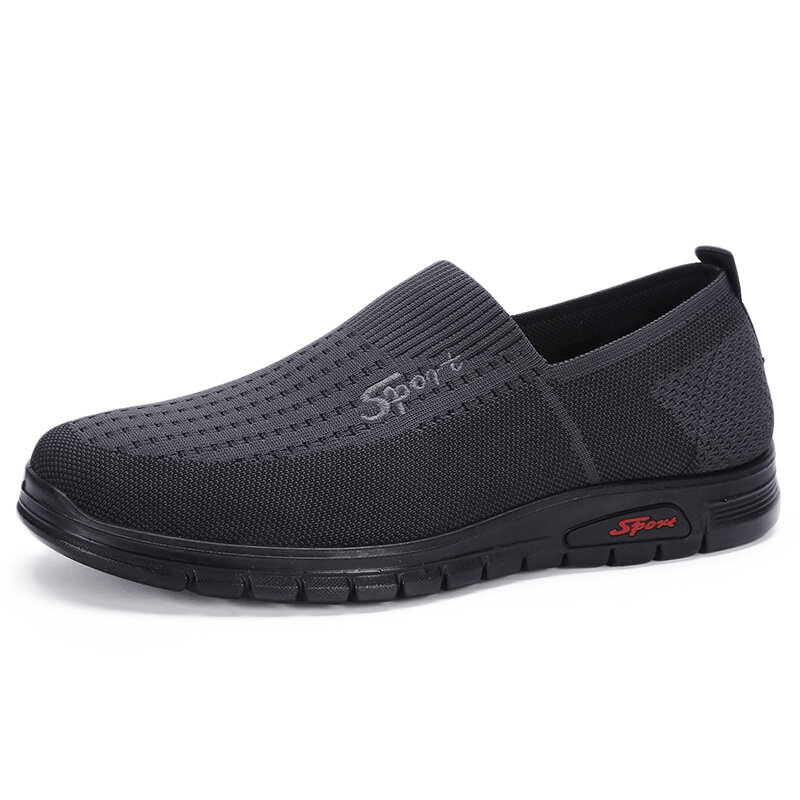 Men Comfy Knitted Fabric Breathable Slip On Casual Shoes
