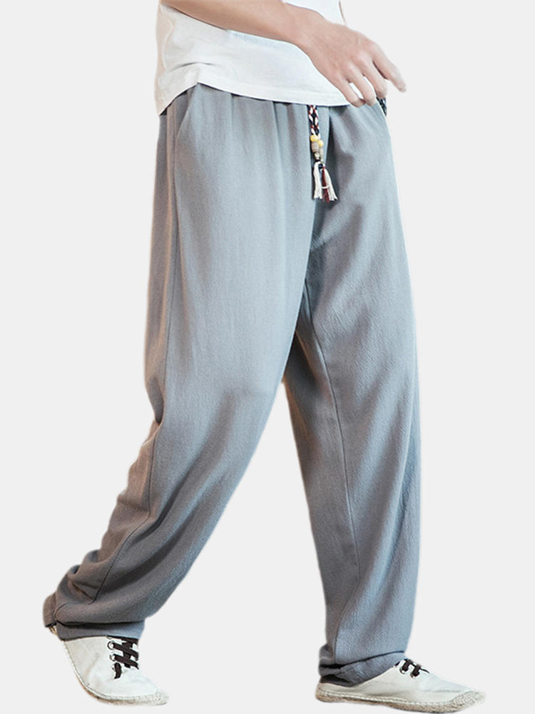 Mens Loose Comfortable Chinese Style Solid Color Drawstring Casual Wide Leg Pants