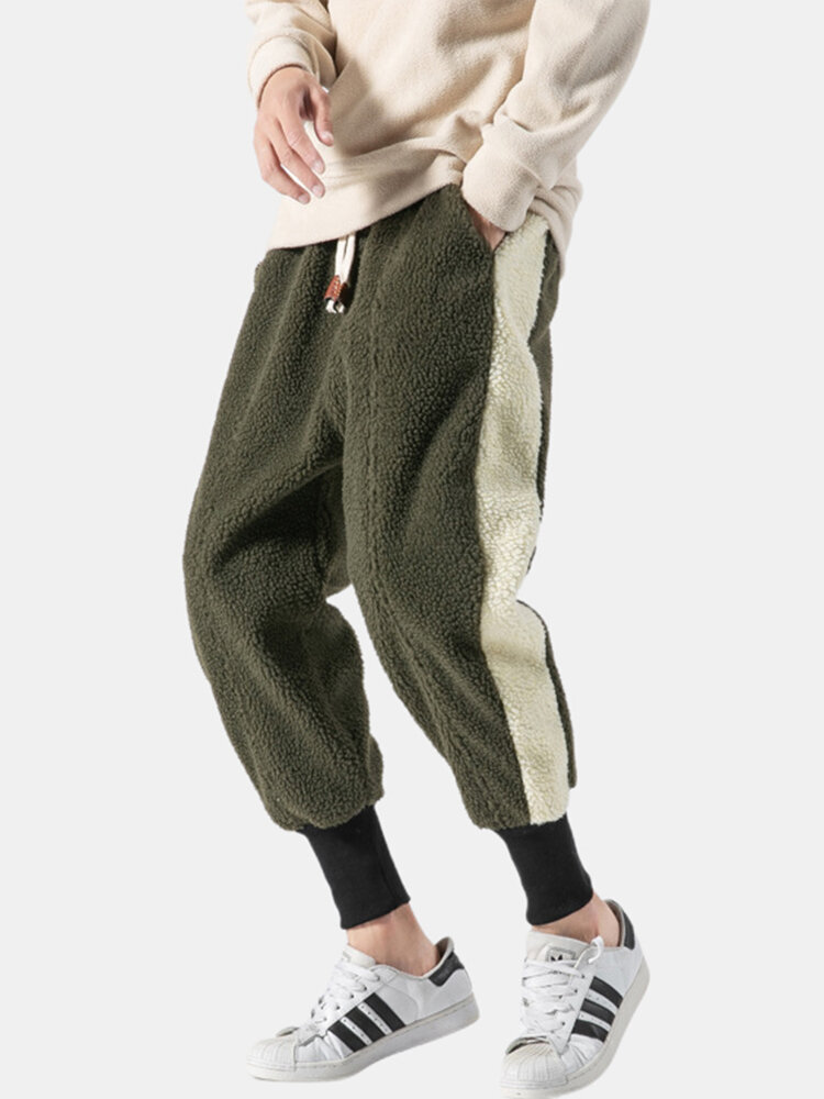 Mens Chinese Style Patchwork Fashion Fleece Thickened Warm Loose Drawstring Track Pants