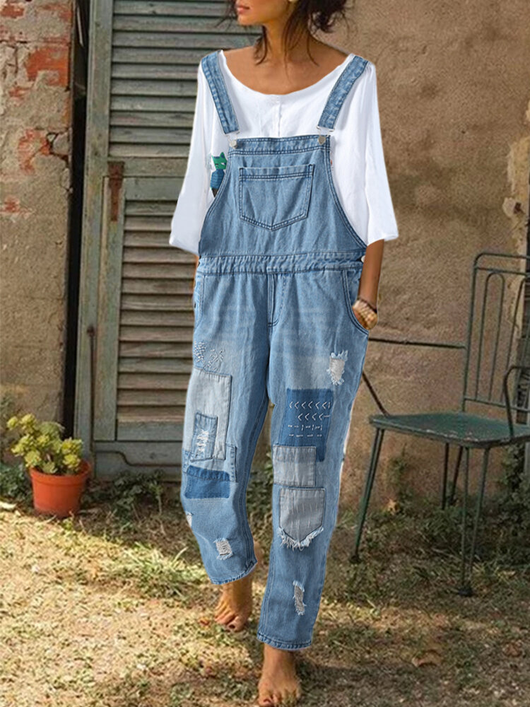 Embroidered Patchwork Straps Ripped Denim Jumpsuit For Women