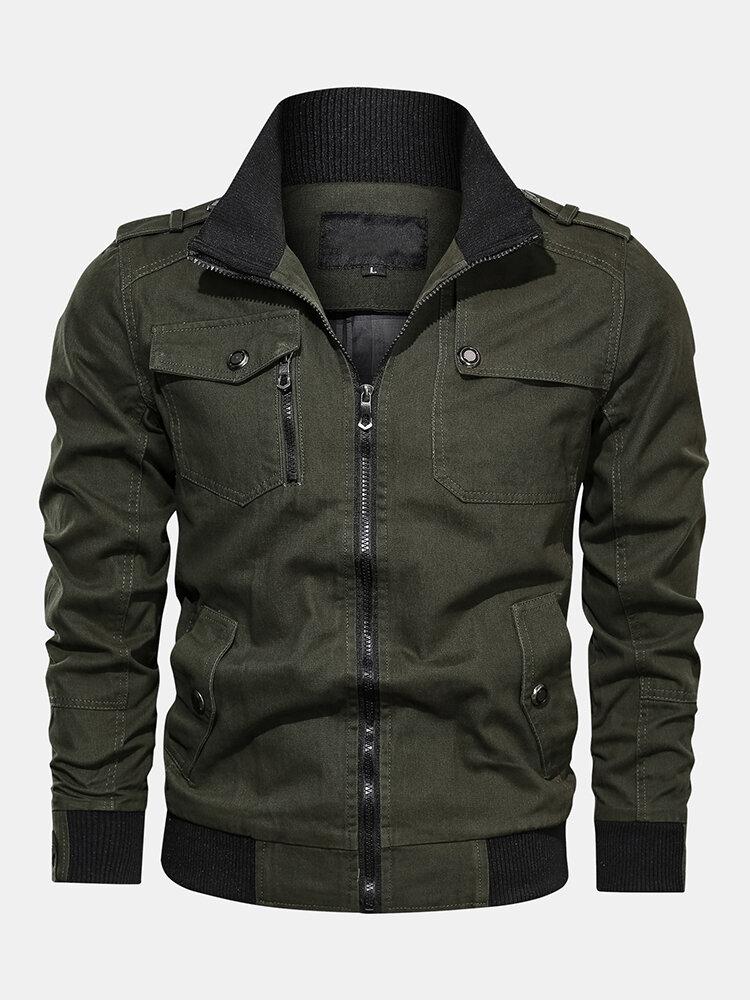 Mens Plain Multi Pockets Turn Down Collar Long Sleeve Cargo Jackets
