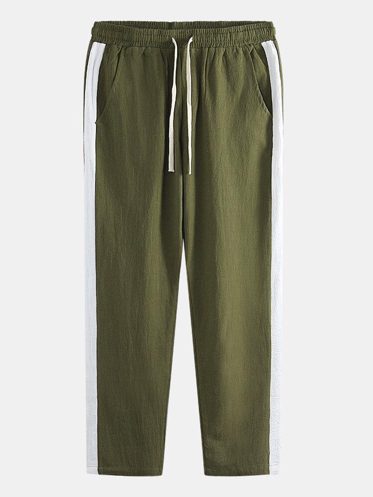Mens Linen Plain Solid Color Stripe Drawstring Casual Pants