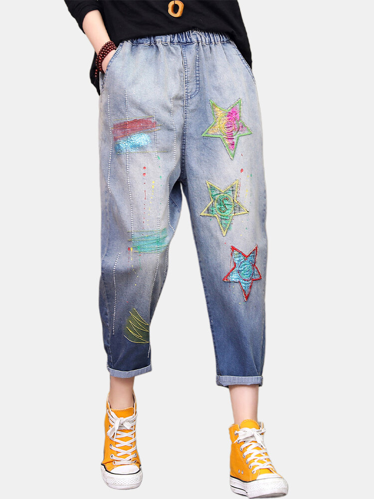 Stars Patch Embroidered Elastic Waist Jeans For Women