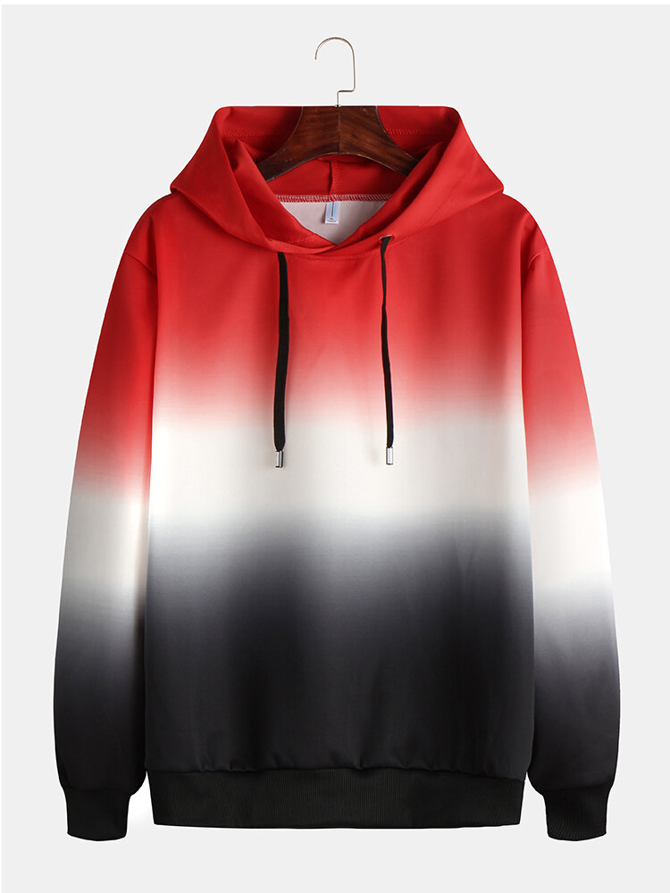 Mens Cool Style Gradient Contrast Color Drawstring Hoodies