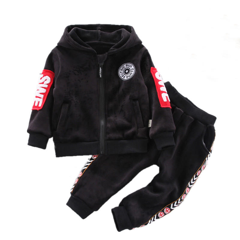 Toddler Zip Up Hoodie Letter Pattern Patchwork Long Sleeves Casual Sports Set For 1-5Y