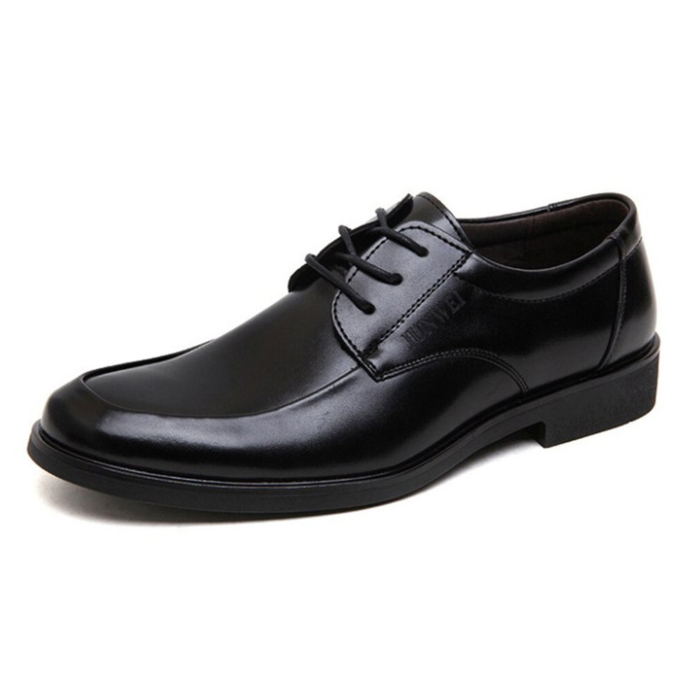 Men_Comfy_Round_Toe_Lace_Up_Black_Business_Causal_Shoes