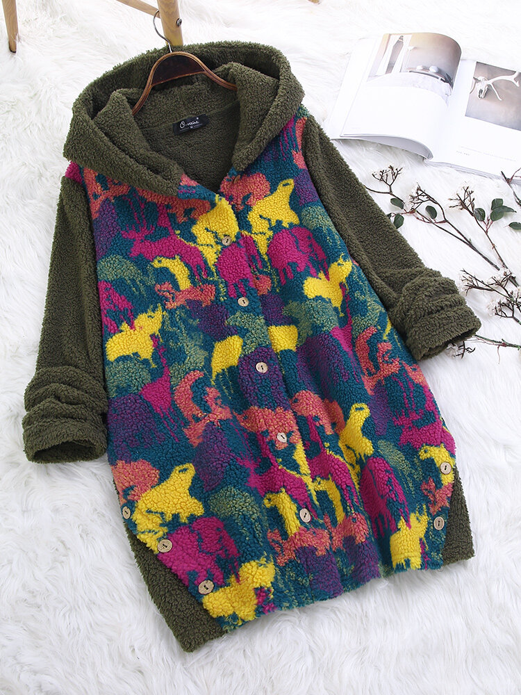 Printed_Patchwork_Fleece_Hooded_Plus_Size_Long_Coat