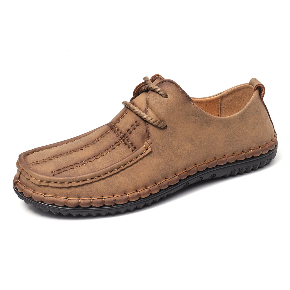 Menico Men Hand Stitching Comfort Microfiber Leather Soft Casual Shoes