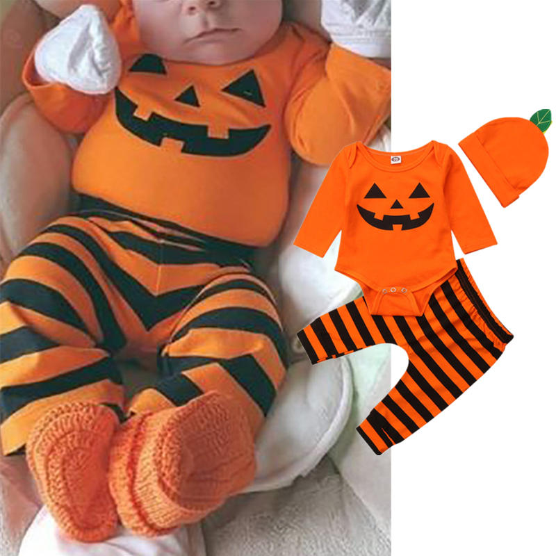 3Pcs_Baby_Halloween_Funny_Smile_Face_Clothes__Striped_Pants_Hat_Set_For_024M