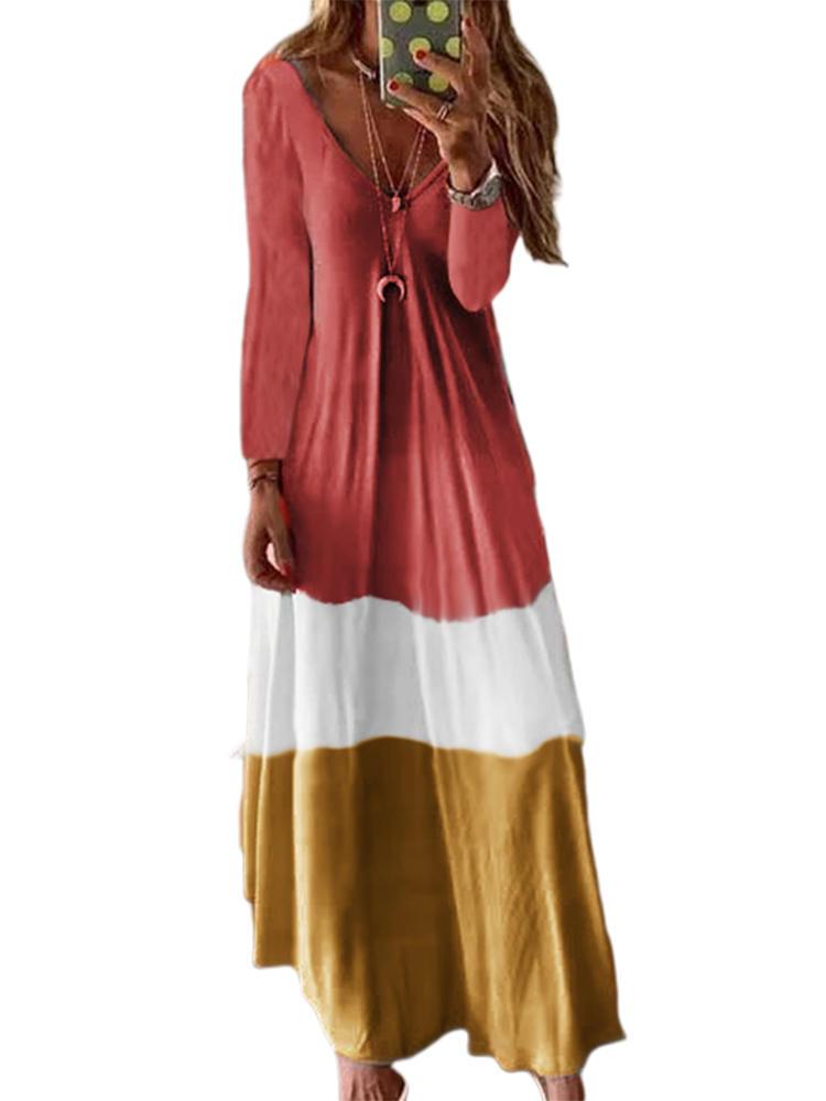 Contrast Color Long Sleeve V-neck Maxi Dress For Women
