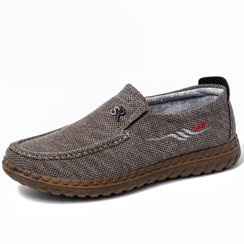 Men Comfy Old Peking Fabric Breathable Slip On Casual Walking Shoes