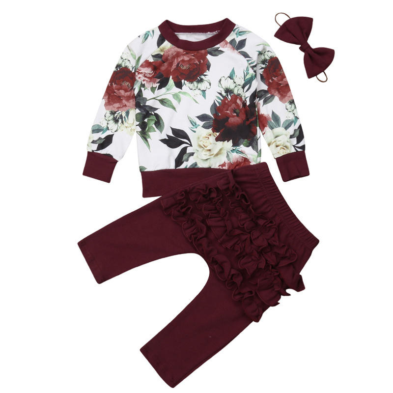 3Pcs Baby Girl's Flower Long Sleeves Tops Ruffle Pants Casual Set For 0-24M