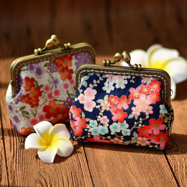 Customized Romantic Cherry Handmade Coin Purse To Send Gifts Imported Hot Stamping Fabric Retro Chinese Style Small Wall (SKUD10693) photo