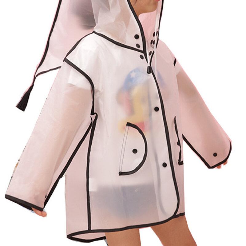 Toddler Girls and Boys Tassel Transparent Hooded Raincoat For 1-7Y