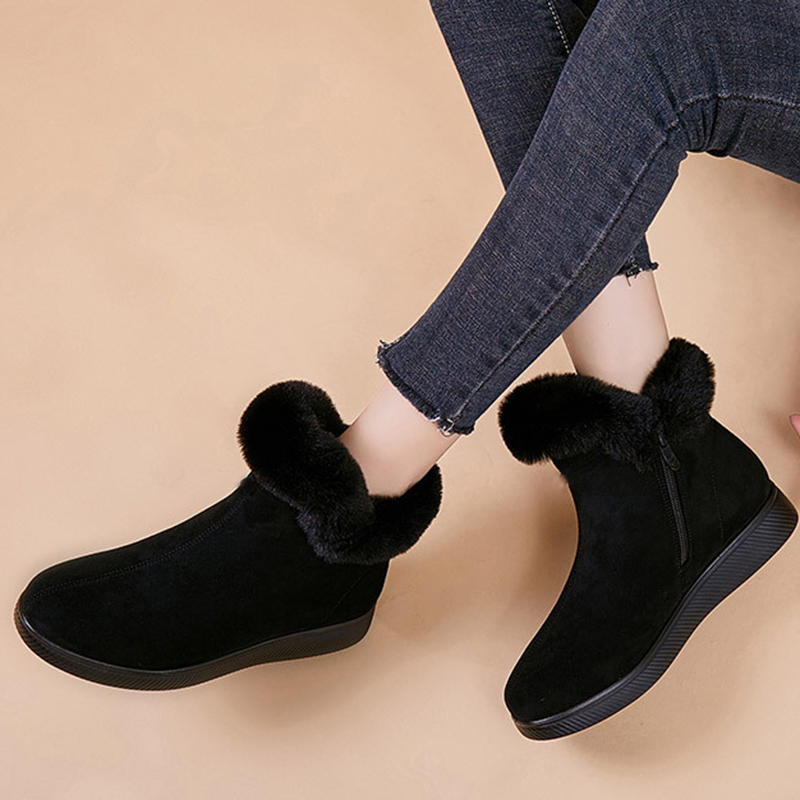 Designer Women Warm Comfy Suede Round Toe Plush Zipper Ankle Flat Boots
