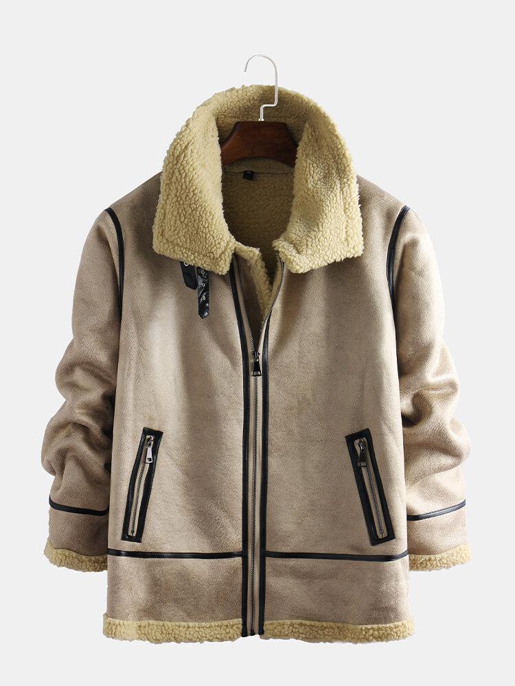 Mens Leather Suedes Jackets Fleece Lined Warm Zipper Shearling Coats
