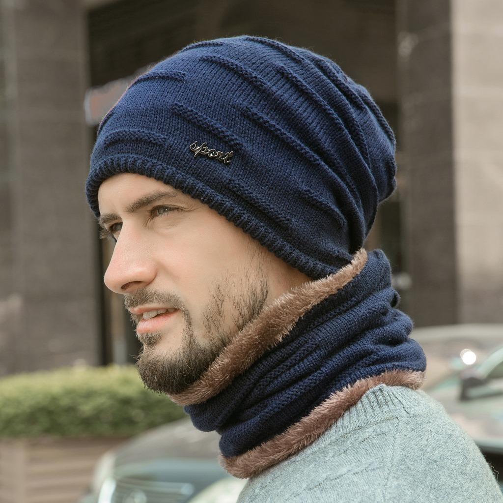 Men's Plus Velvet Thick Warm Knitted Beanie Hat