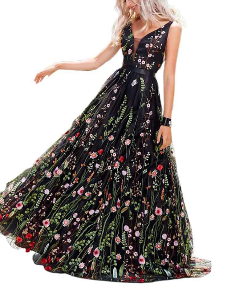 Floral Embroidered Backless Sleeveless Evening Dress
