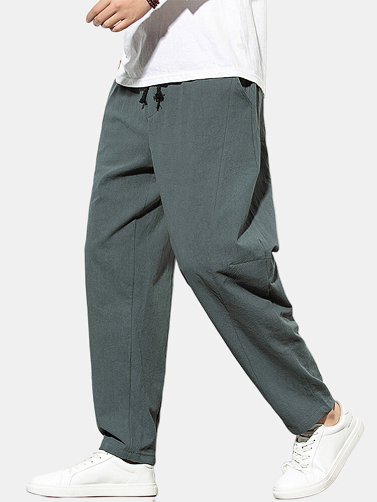 Mens Ethnic Style Linen Solid Color Drawstring Pants