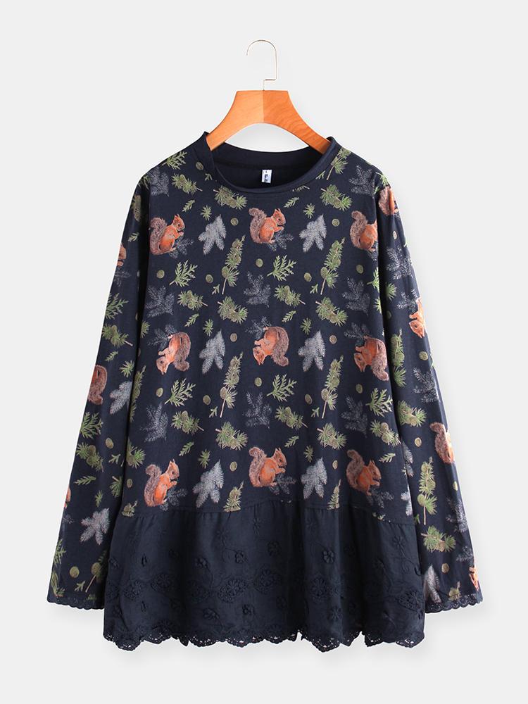 Broderie dentelle florale patchwork à manches longues Plus blouse taille - Newchic - Modalova