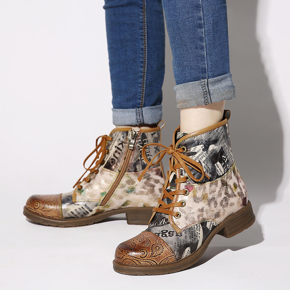 SOCOFY Retro Genuine Leather Newspaper Pattern Lace Up Zipper Flat Ankle Boots