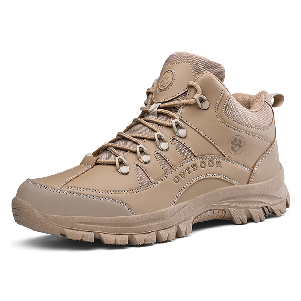 Men Outdoor Work Style Slip Resistant Lace Up Hiking Climbing Boots
