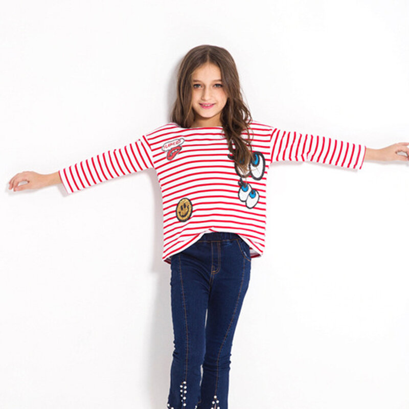 Girls Striped Cartoon Patch Shirt Seven-point Sleeve Bottoming Shirt For 6-15Y