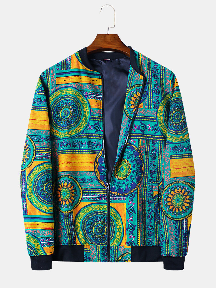 Mens Ethnic Style Vintage Printing Coat Long Sleeve Stand Collar Jackets