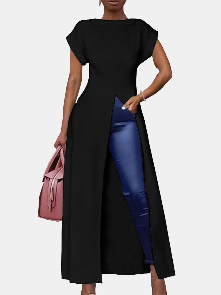 Chemisier long à col rond et à manches courtes de couleur unie pour les femmes