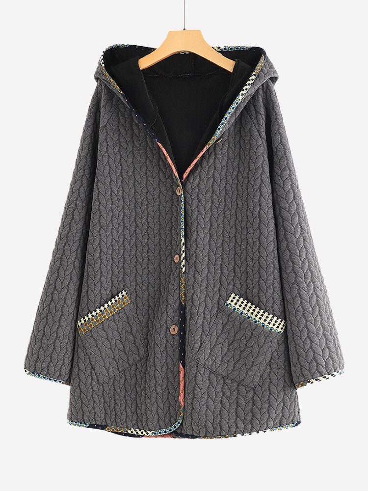 Jacquard Vintage Wooden Button Patch Hooded Jacket