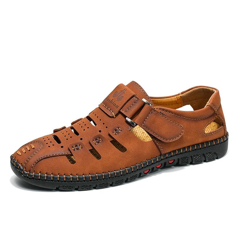 Men Microfiber Leather Hook Loop Non Slip Casual Soft Hole Sandals