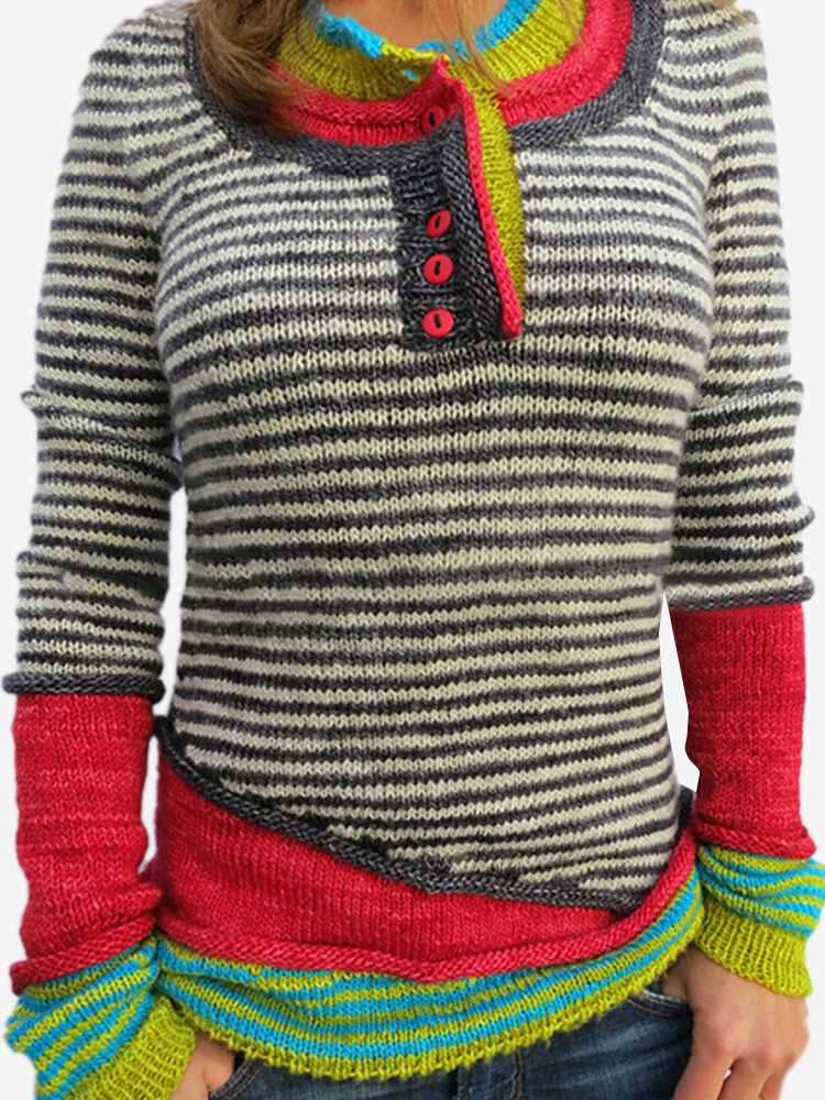 Stripe Long Sleeve Button Contrast Color Sweater For Women