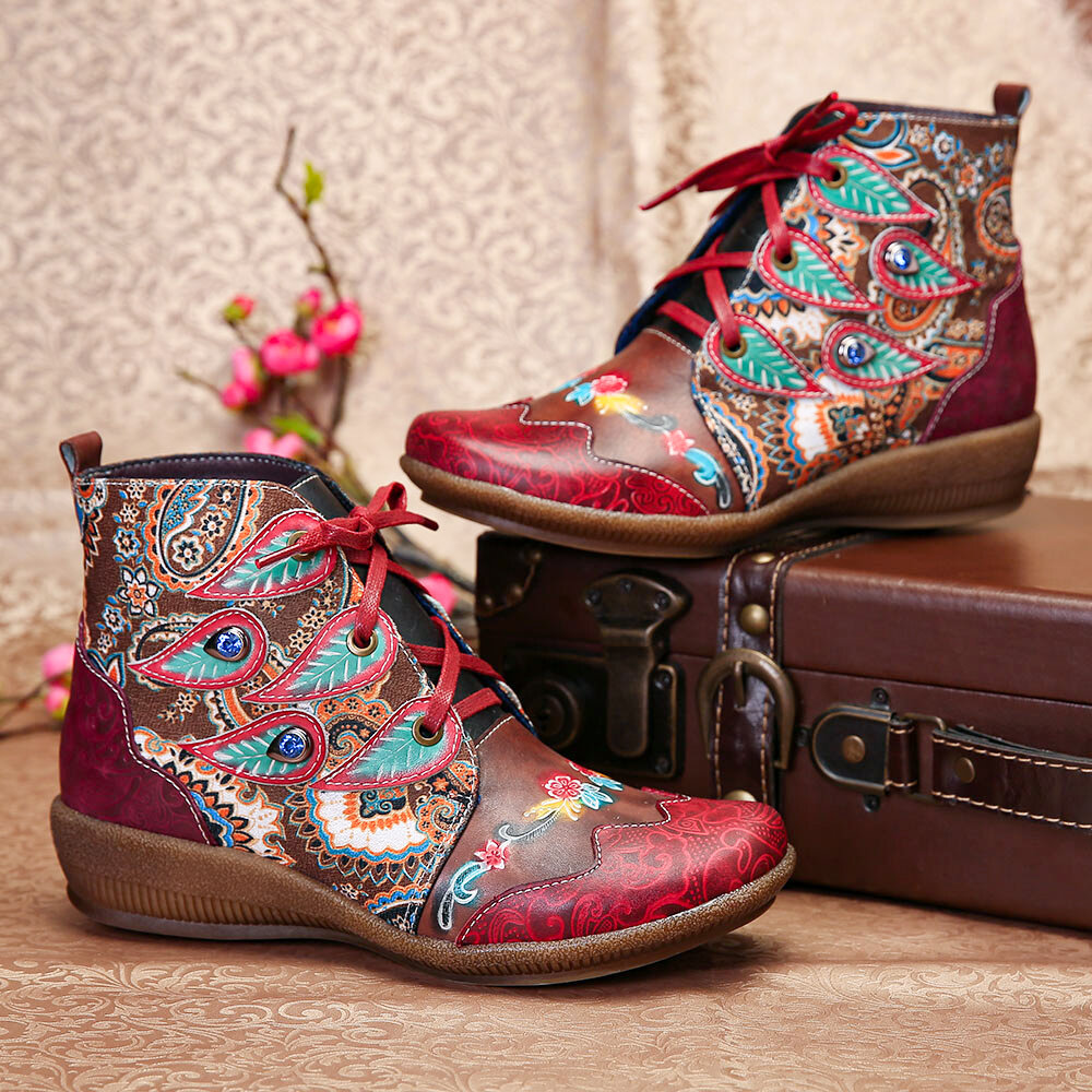 SOCOFY Folkways Pattern Red Genuine Leather Soft Flat Ankle Boots For Womens