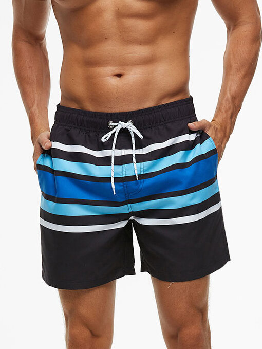 Men Stripe Casual Shorts Quick Drying Colorblock Mid Length Beach Board Shorts with Mesh Liner