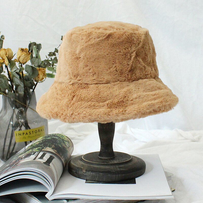 Fur Thick Warm Winter Bucket Hat Women Solid Color Girls Flat Top Velvet Fedoras Ladies Plush Bob