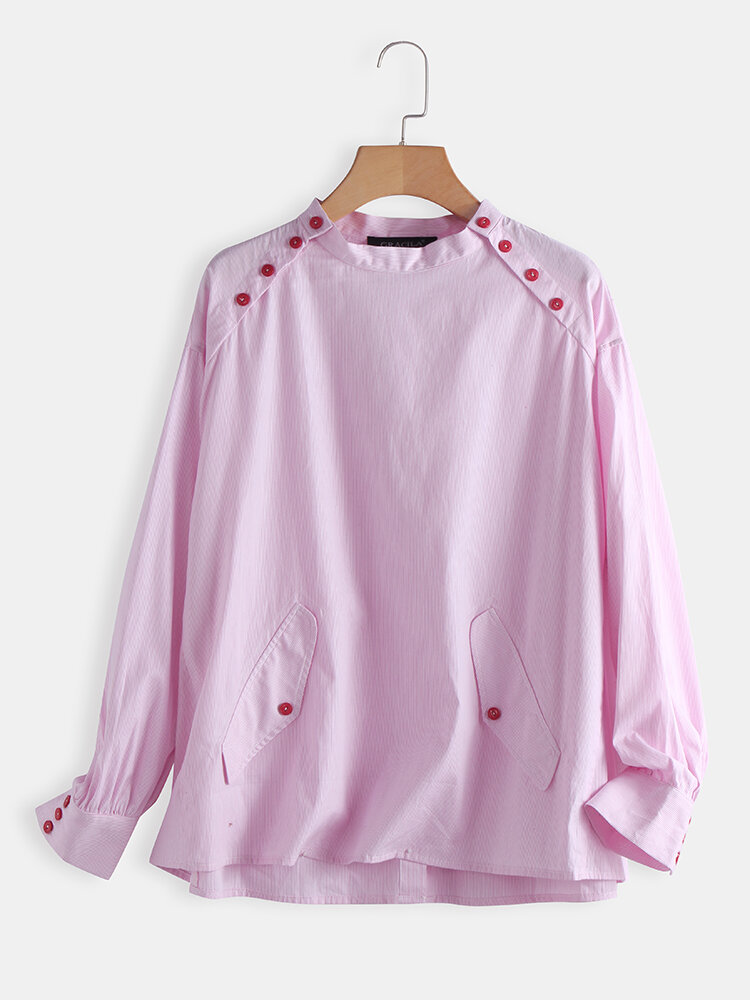 Side Button Stripe Long Sleeve Casual Blouse For Women