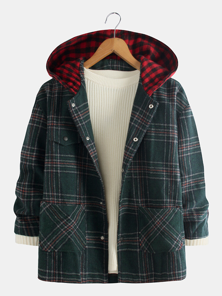 Mens Casual Plaid Long Sleeve Woolen Hooded Jacket Coat