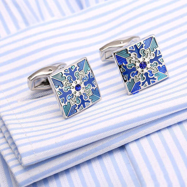 1Pair Mens Trendy French Shirt Cufflinks Diamond Cuff Link Business Silver Cufflinks For Men