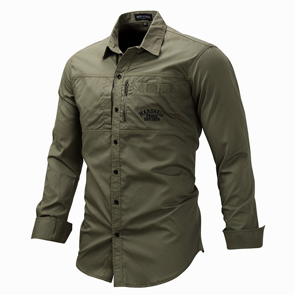 Casual Stylish Military Outdoor Chest Pockets Decorative Zipper Work Shirts for Men