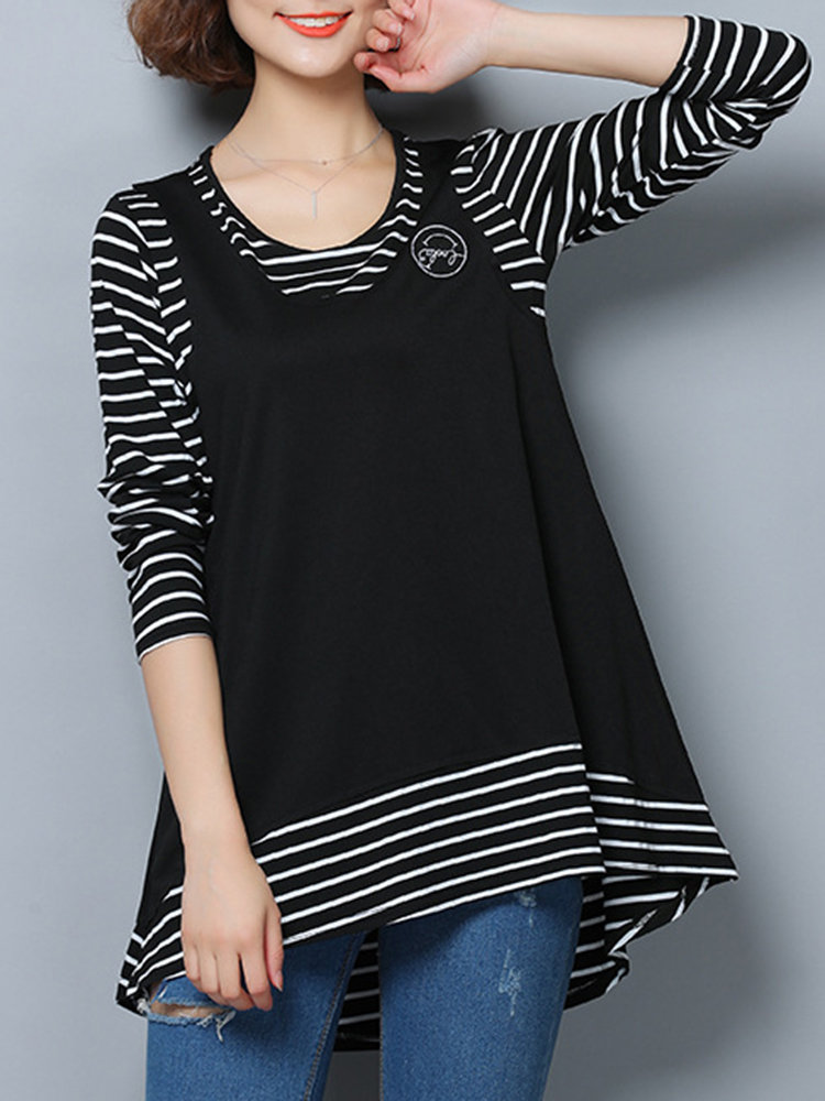 Casual Loose Striped Patchwork Women Layered Blouses