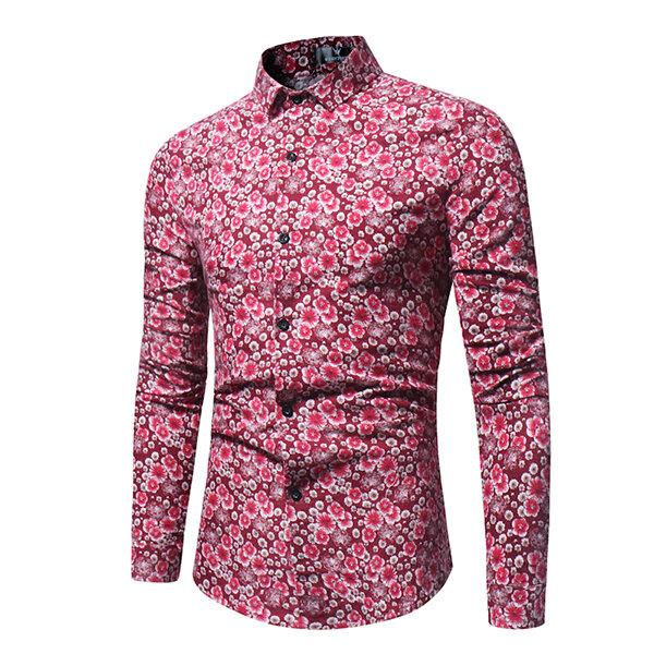 Men Casual Slim Fit Floral Printing Long Sleeve Shirts