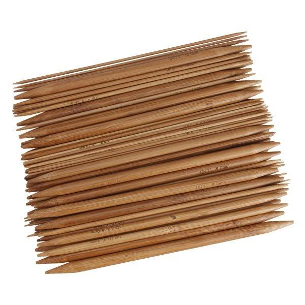 15 Sizes Bamboo Handle Double Point Carbonized Knitting Needle