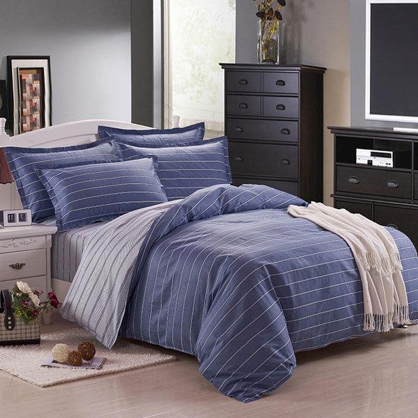 3 या 4pcs डार्क ब्लू शुद्ध कपास तफ़ता धारी मुद्रित बिस्तर सेट 4 आकार