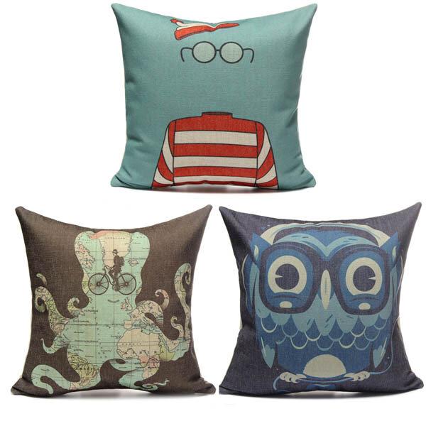 Cotton Linen Animal Octopus Map Home Sofa Cushion Pillow Case