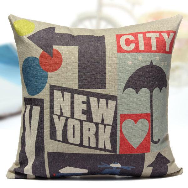 कॉटन लिनेन न्यूयॉर्क सिटी पिलो केस सोफा बेड कार सीट पिलोकेस