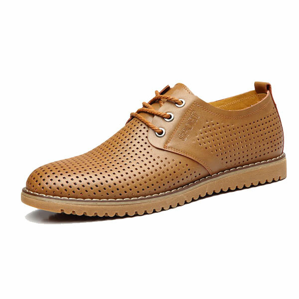 Big Size Men Leather Hollow Out Breathable Casual Business Lace Up Oxford Shoes