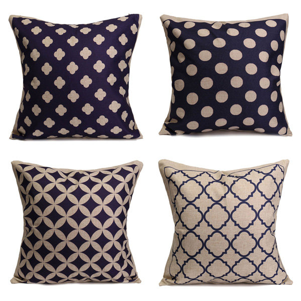 Blue Geometric Cotton Linen Pillow Cases Waist Cushion Cover Home Sofa Decor