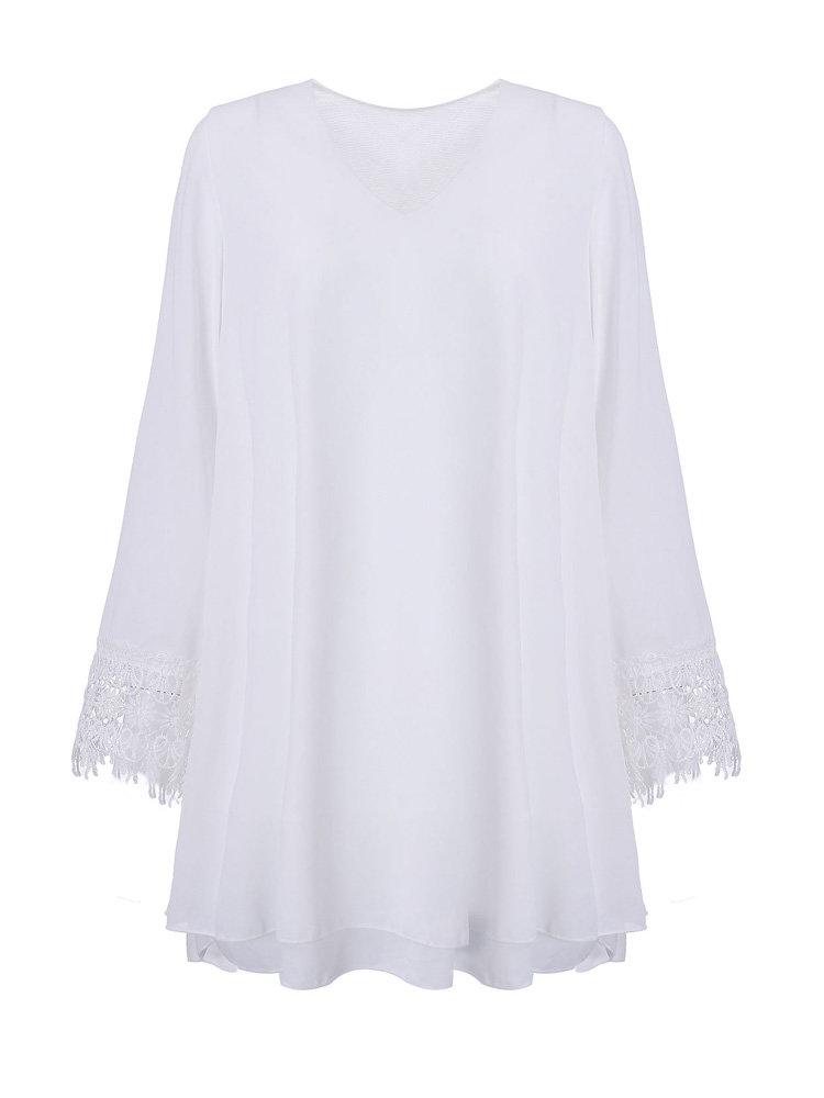 Casual Chiffon Crochet Solid Color V-Neck Long Sleeve Blouse