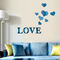 3D Multi-color Love Silver DIY Shape Mirror Wall Stickers Home Wall Bedroom Office Decor - Blue