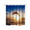 Cortina de chuveiro impermeável do teste padrão do golfinho Cortina de oceano impermeável do acessório 3D da tela da cortina de chuveiro